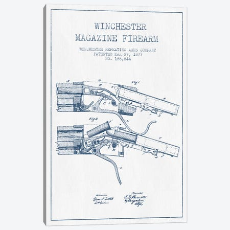 Winchester Repeating Arms Company Winchester Magazine Firearm Patent Sketch (Ink) Canvas Print #ADP3165} by Aged Pixel Canvas Art Print