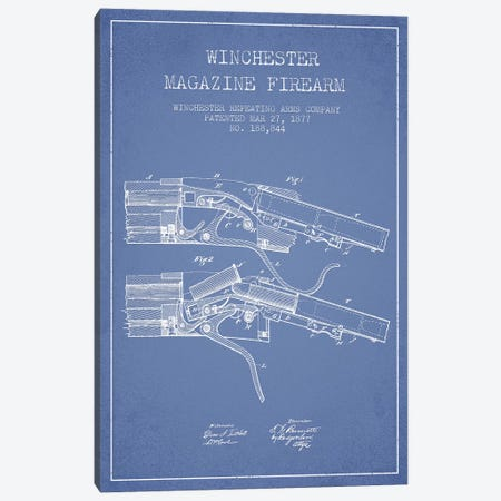 Winchester Repeating Arms Company Winchester Magazine Firearm Patent Sketch (Light Blue) I Canvas Print #ADP3166} by Aged Pixel Canvas Print