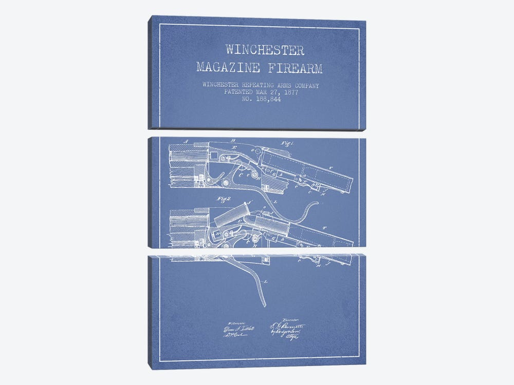 Winchester Repeating Arms Company Winchester Magazine Firearm Patent Sketch (Light Blue) I by Aged Pixel 3-piece Canvas Print