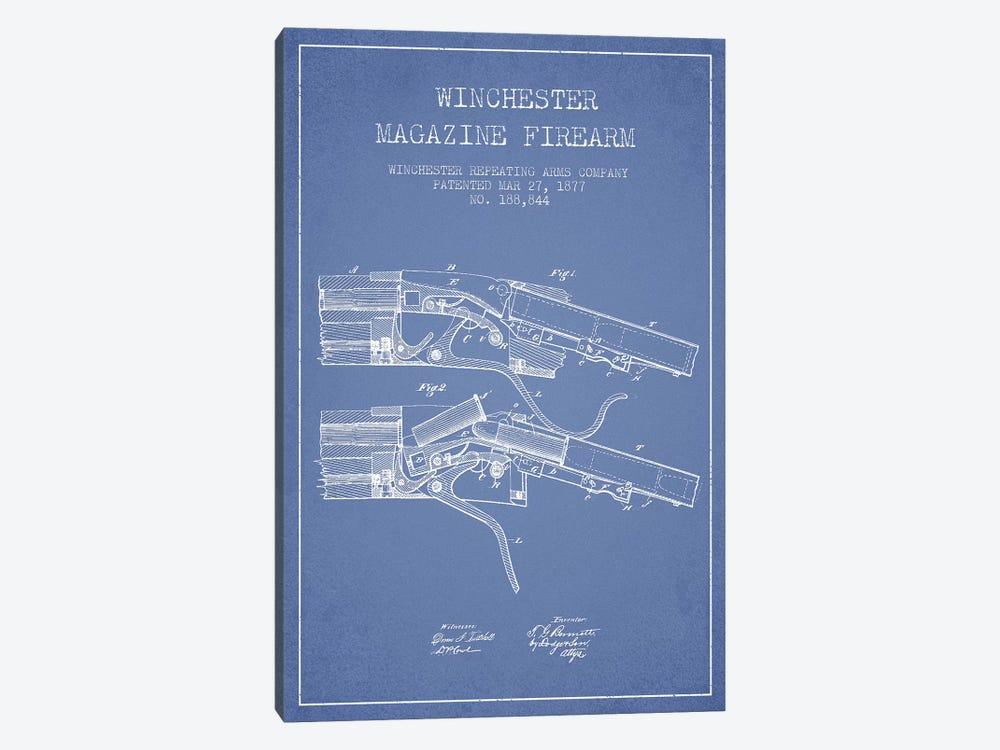Winchester Repeating Arms Company Winchester Magazine Firearm Patent Sketch (Light Blue) I by Aged Pixel 1-piece Canvas Print