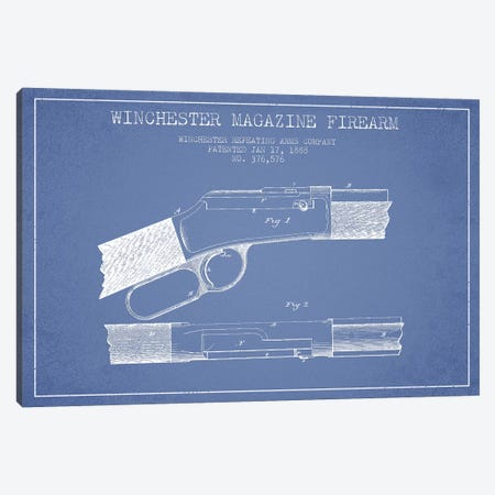 Winchester Repeating Arms Company Winchester Magazine Firearm Patent Sketch (Light Blue) II Canvas Print #ADP3167} by Aged Pixel Art Print