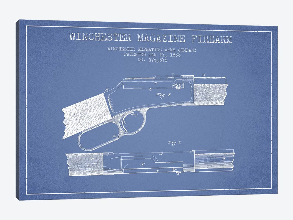 Winchester Repeating Arms Company Winchester Magazine Firearm Patent Sketch (Light Blue) II by Aged Pixel 1-piece Canvas Wall Art