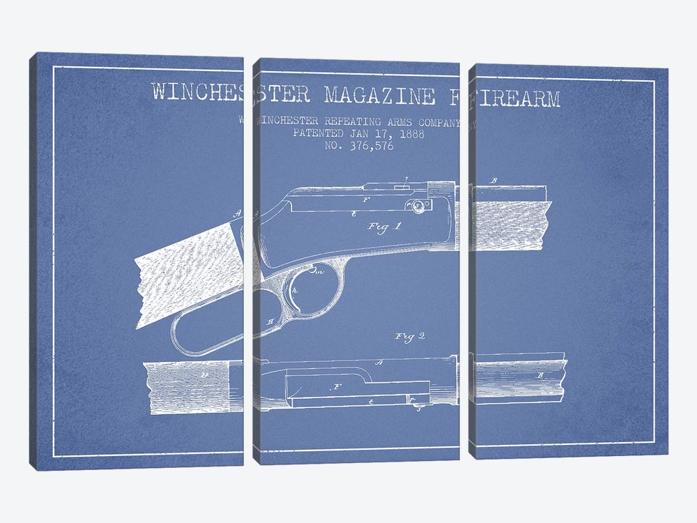 Winchester Repeating Arms Company Winchester Magazine Firearm Patent Sketch (Light Blue) II by Aged Pixel 3-piece Canvas Art