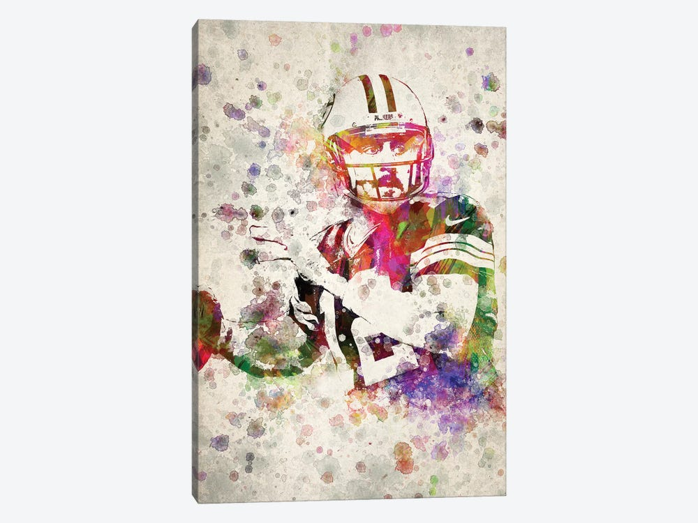 Aaron Rodgers by Aged Pixel 1-piece Canvas Artwork