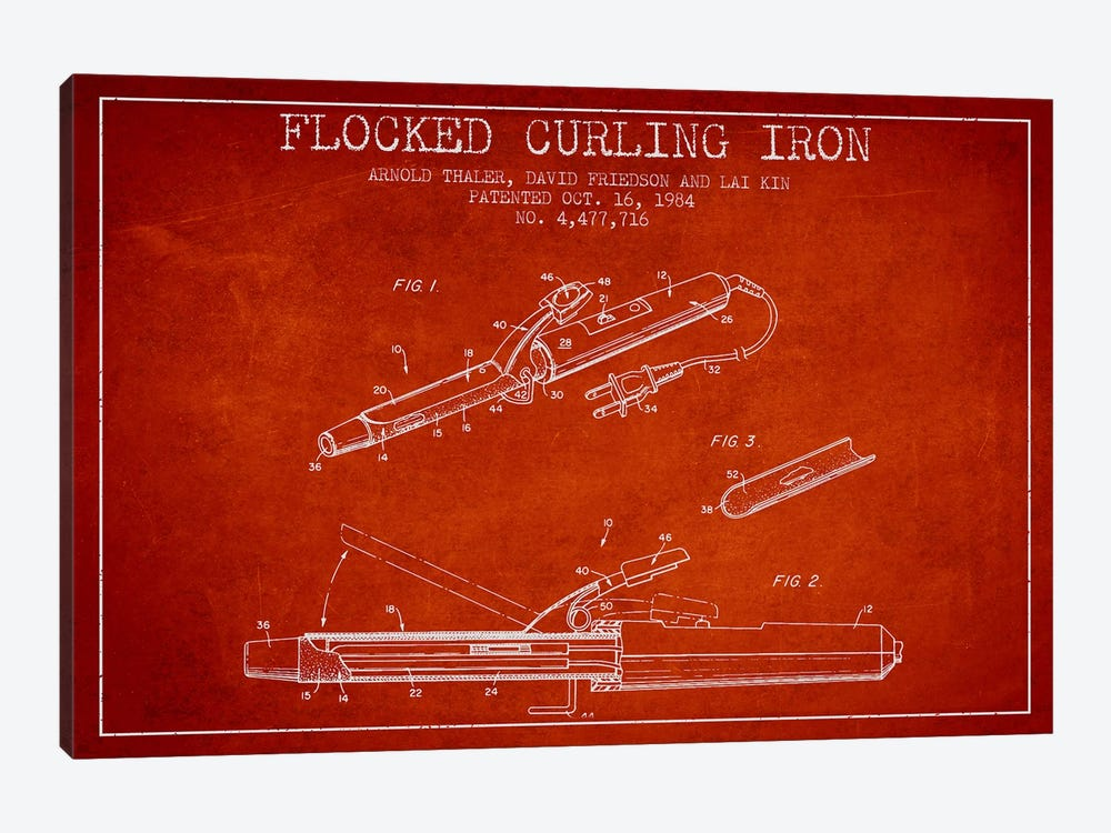 Flocked Curling Iron Red Patent Blueprint by Aged Pixel 1-piece Canvas Wall Art