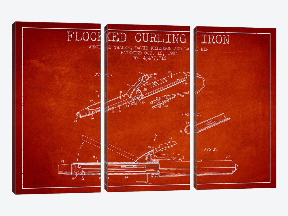 Flocked Curling Iron Red Patent Blueprint by Aged Pixel 3-piece Canvas Wall Art