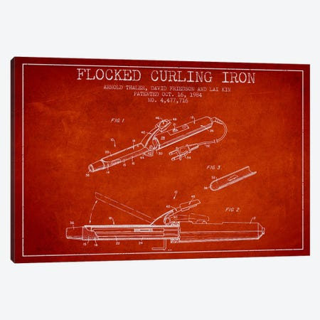 Flocked Curling Iron Red Patent Blueprint Canvas Print #ADP316} by Aged Pixel Canvas Art