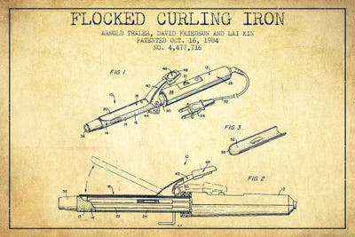 Flocked curling iron vintage patent blueprint can aged pixel framed print malvernweather Choice Image