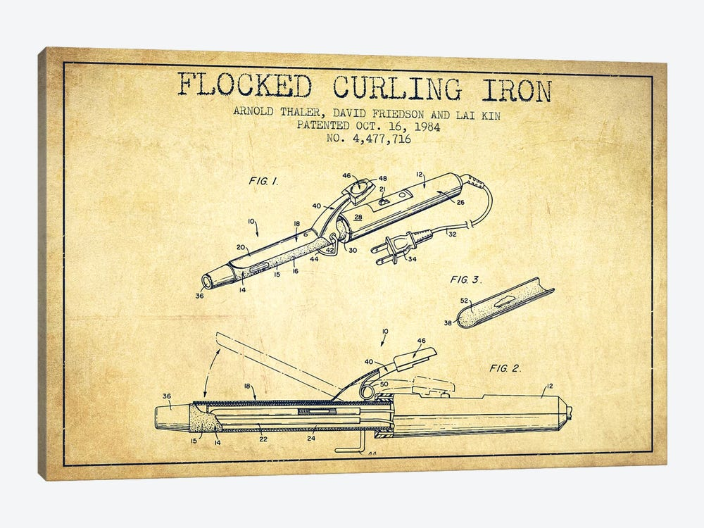 Flocked Curling Iron Vintage Patent Blueprint by Aged Pixel 1-piece Art Print