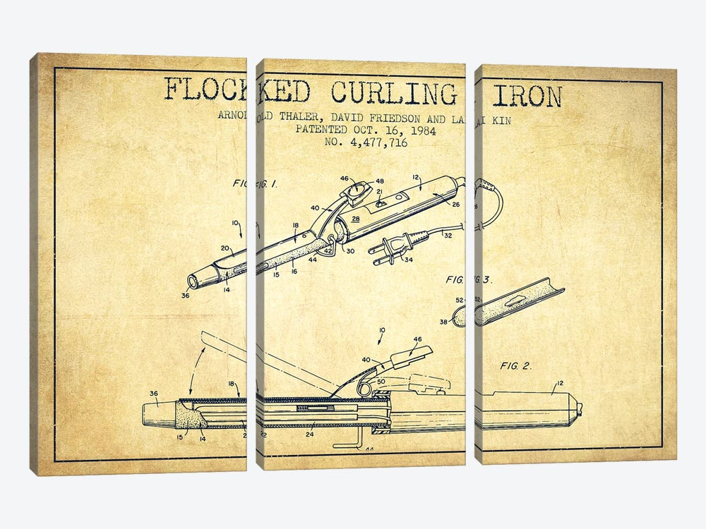 Flocked Curling Iron Vintage Patent Blueprint by Aged Pixel 3-piece Art Print