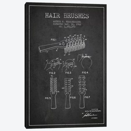 Hair Brushes Charcoal Patent Blueprint Canvas Print #ADP318} by Aged Pixel Art Print