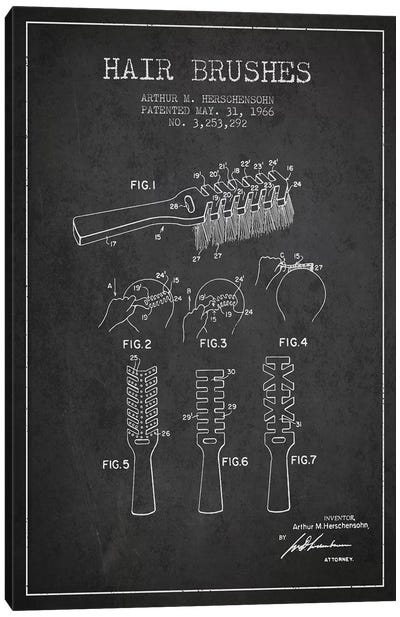 Hair Brushes Charcoal Patent Blueprint Canvas Art Print