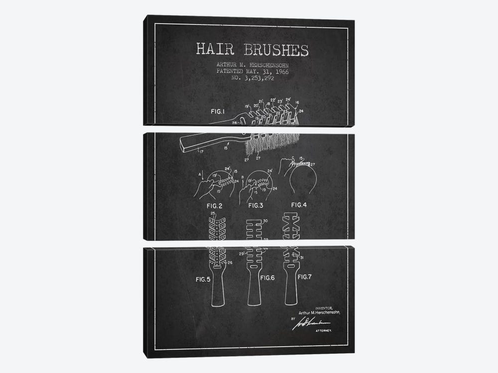 Hair Brushes Charcoal Patent Blueprint by Aged Pixel 3-piece Canvas Wall Art