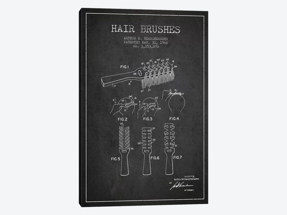 Hair Brushes Charcoal Patent Blueprint by Aged Pixel 1-piece Canvas Artwork