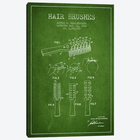 Hair Brushes Green Patent Blueprint Canvas Print #ADP319} by Aged Pixel Art Print