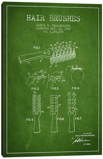 Hair Brushes Green Patent Blueprint Canvas Art Print