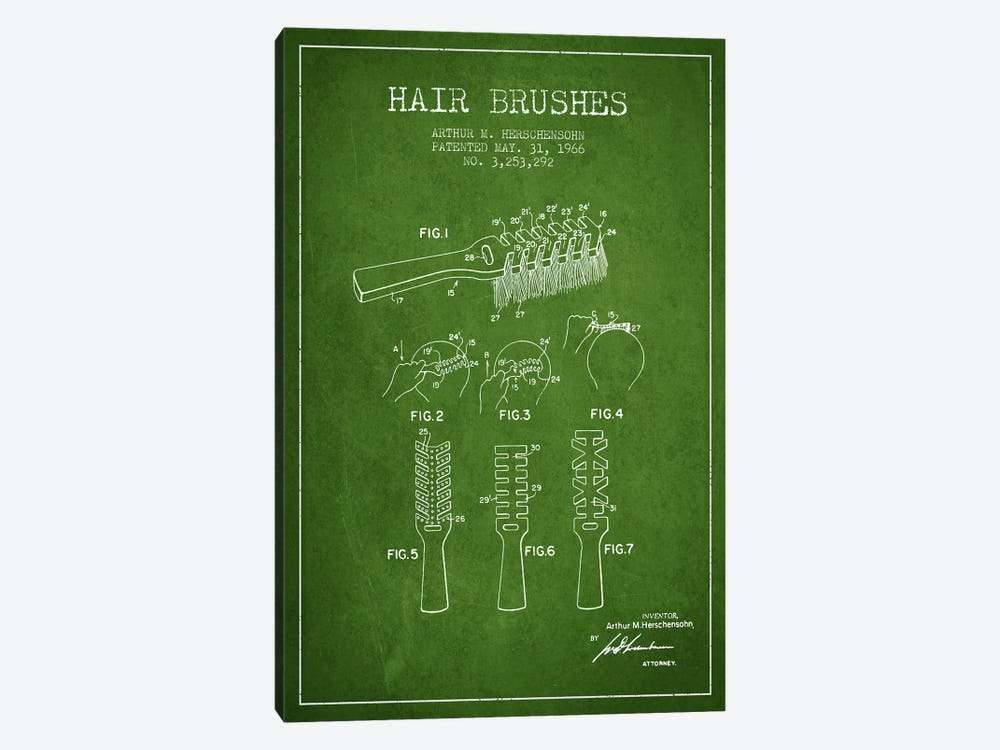 Hair Brushes Green Patent Blueprint by Aged Pixel 1-piece Art Print