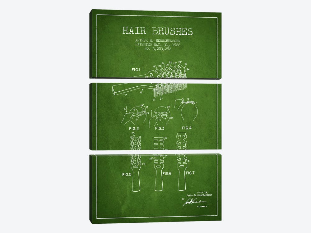 Hair Brushes Green Patent Blueprint by Aged Pixel 3-piece Canvas Art Print