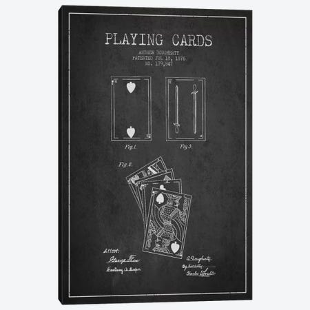 Dougherty Cards Dark Patent Blueprint Canvas Print #ADP31} by Aged Pixel Canvas Art Print