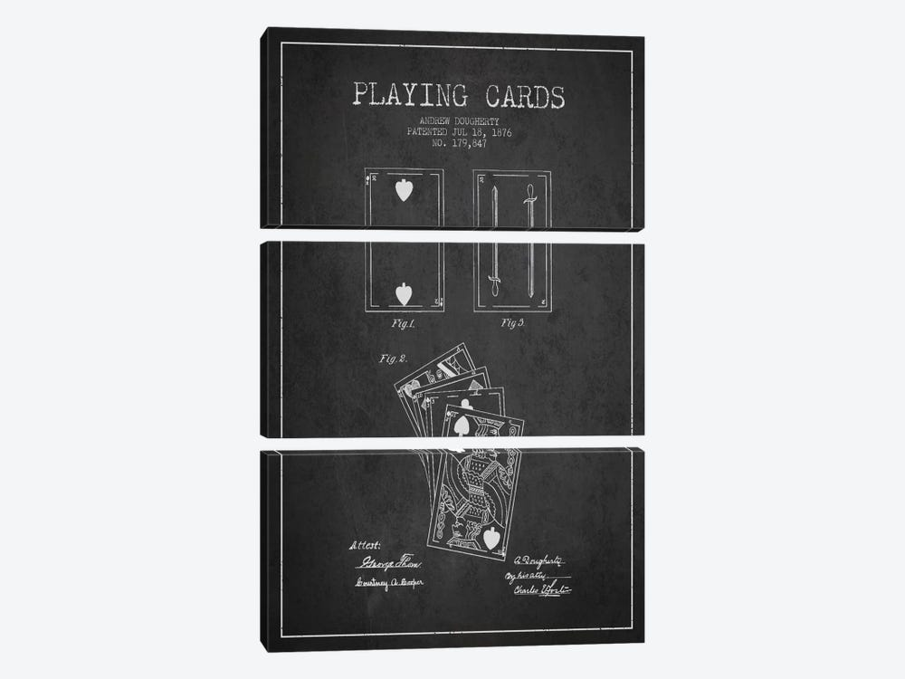 Dougherty Cards Dark Patent Blueprint by Aged Pixel 3-piece Canvas Print