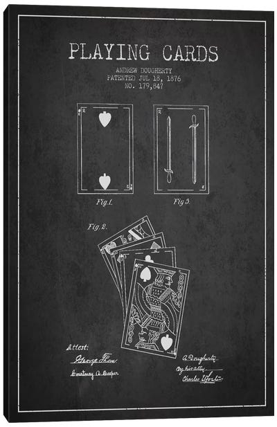 Dougherty Cards Dark Patent Blueprint Canvas Art Print