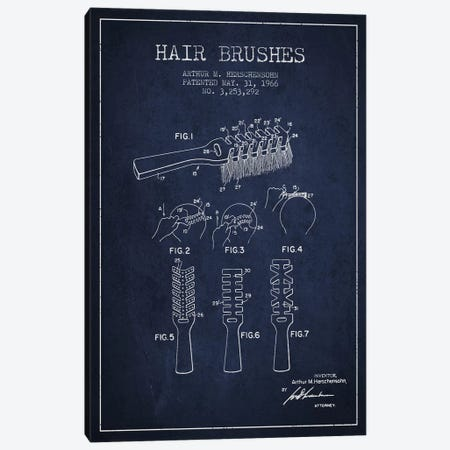 Hair Brushes Navy Blue Patent Blueprint Canvas Print #ADP320} by Aged Pixel Canvas Art