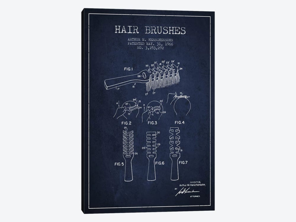 Hair Brushes Navy Blue Patent Blueprint by Aged Pixel 1-piece Art Print