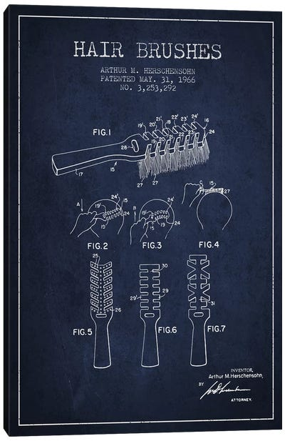 Hair Brushes Navy Blue Patent Blueprint Canvas Art Print