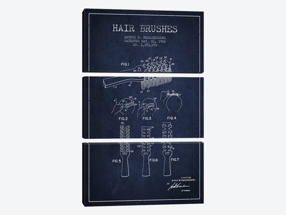 Hair Brushes Navy Blue Patent Blueprint by Aged Pixel 3-piece Canvas Art Print