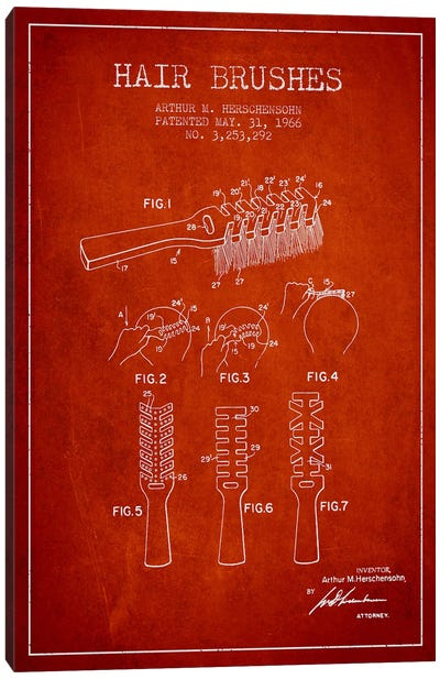 Hair Brushes Red Patent Blueprint Canvas Print #ADP321