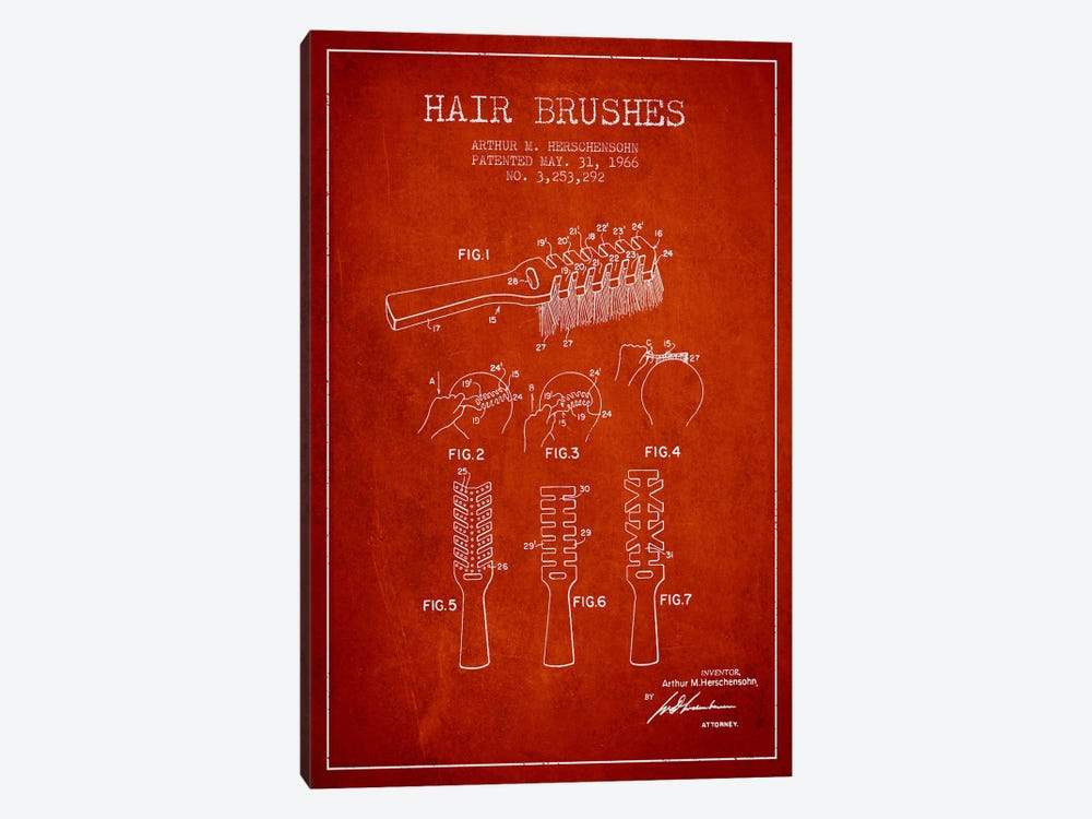 Hair Brushes Red Patent Blueprint by Aged Pixel 1-piece Canvas Wall Art