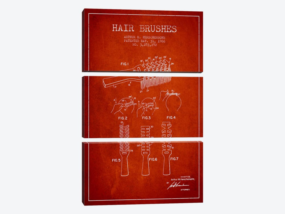 Hair Brushes Red Patent Blueprint by Aged Pixel 3-piece Canvas Artwork