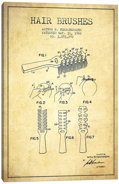 Hair Brushes Vintage Patent Blueprint Canvas Art Print