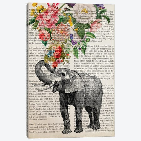 Elephant With Flowers Prints Canvas Print #ADP3237} by Aged Pixel Canvas Art Print