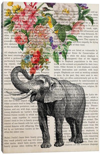 Elephant With Flowers Prints Canvas Art Print