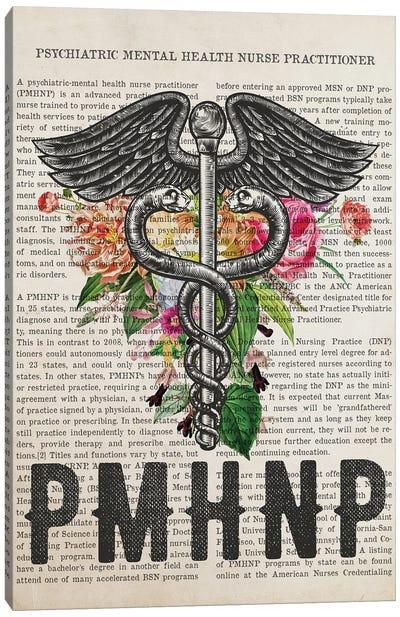 PMHNP, Psychiatric Mental Health Nurse with Flowers Print Canvas Art Print