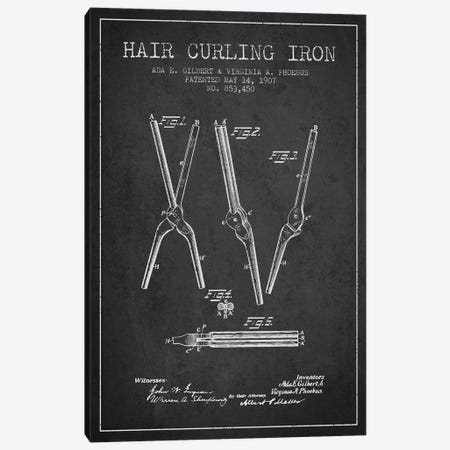Hair Curling Iron Charcoal Patent Blueprint Canvas Print #ADP323} by Aged Pixel Canvas Art