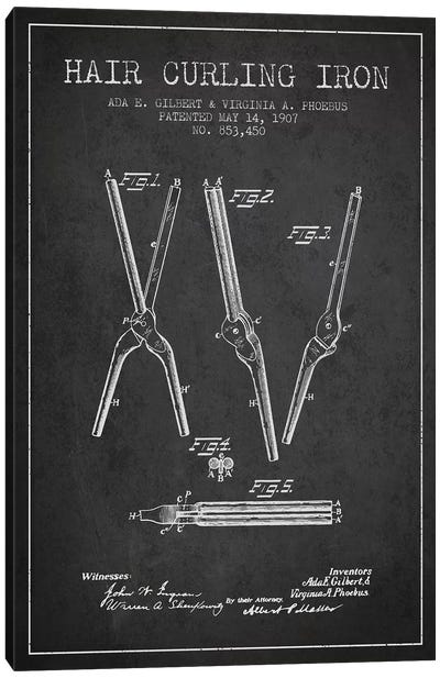 Hair Curling Iron Charcoal Patent Blueprint Canvas Art Print