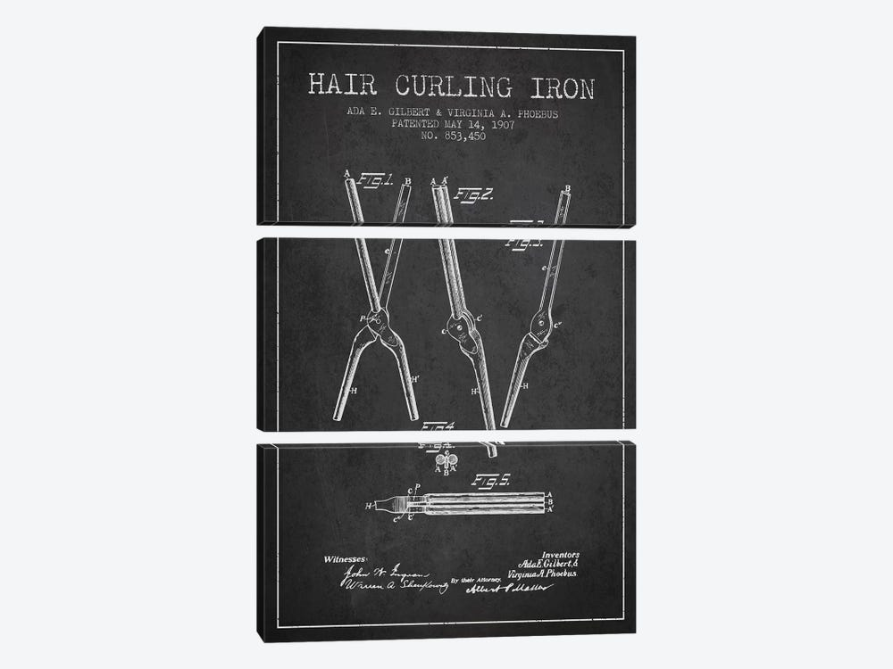 Hair Curling Iron Charcoal Patent Blueprint by Aged Pixel 3-piece Canvas Artwork