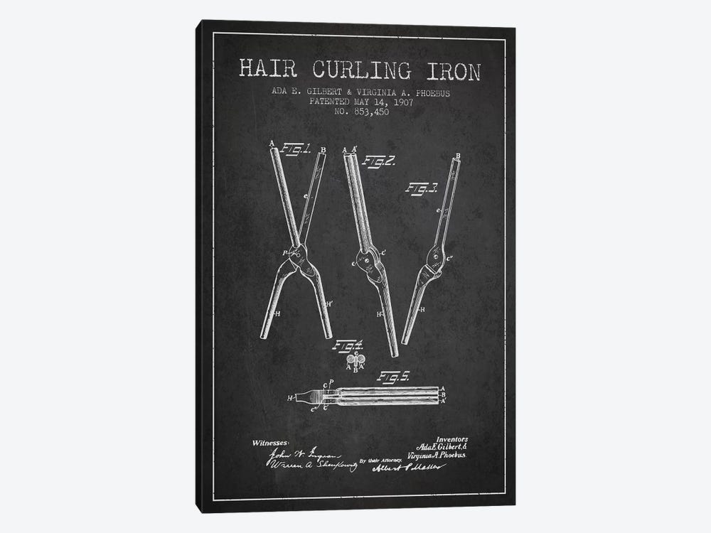 Hair Curling Iron Charcoal Patent Blueprint by Aged Pixel 1-piece Canvas Artwork
