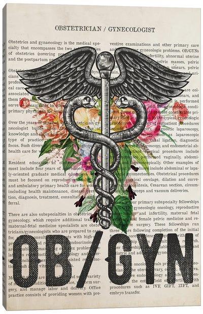 OB-Gyn, Obstetrician Gynecologist with Flowers Print Canvas Art Print