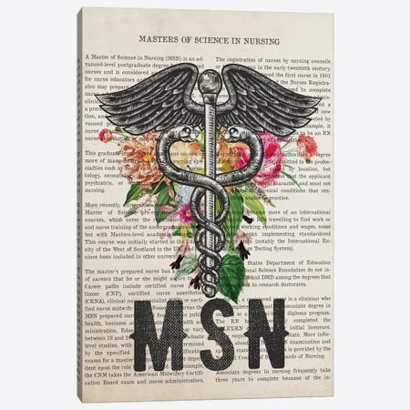 MSN, Masters of Science in Nursing with Flowers Print Canvas Print #ADP3241} by Aged Pixel Canvas Print