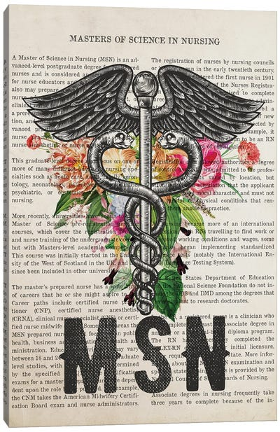 MSN, Masters of Science in Nursing with Flowers Print Canvas Art Print
