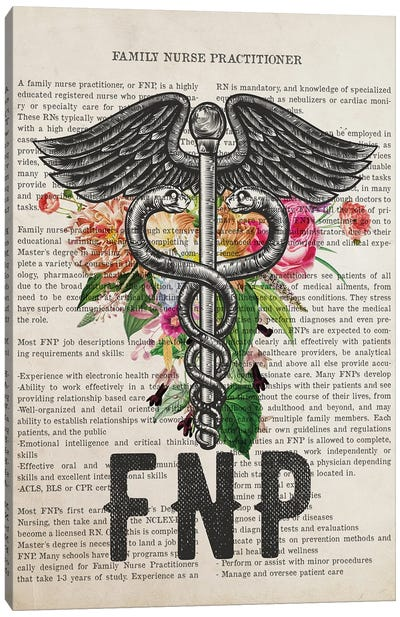 FNP, Family Nurse Practitioner with Flowers Print Canvas Art Print