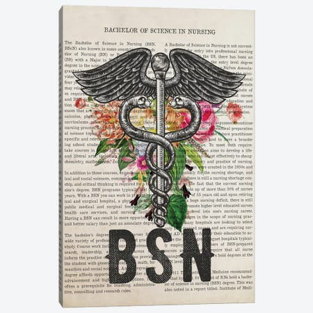 BSN, Bachelor of Science in Nursing With Flowers Print Canvas Print #ADP3245} by Aged Pixel Canvas Wall Art