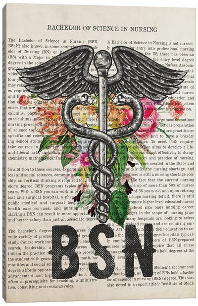 BSN, Bachelor of Science in Nursing With Flowers Print Canvas Art Print