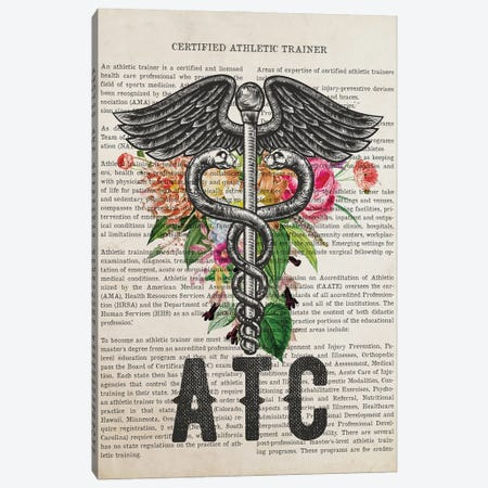 ATC, Certified Athletic Trainer with Flowers Print Canvas Print #ADP3248} by Aged Pixel Canvas Art Print