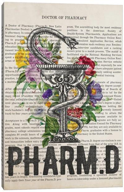 PharmD, Doctor of Pharmacy with Flowers Print Canvas Art Print
