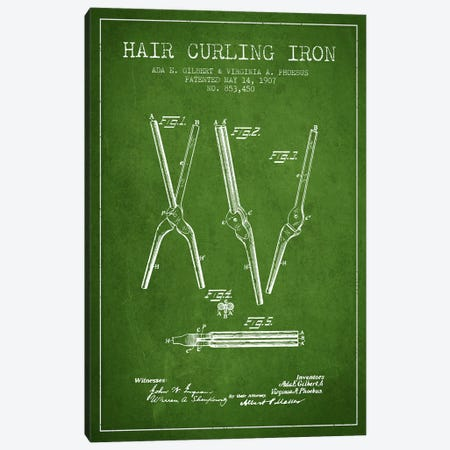 Hair Curling Iron Green Patent Blueprint Canvas Print #ADP324} by Aged Pixel Art Print
