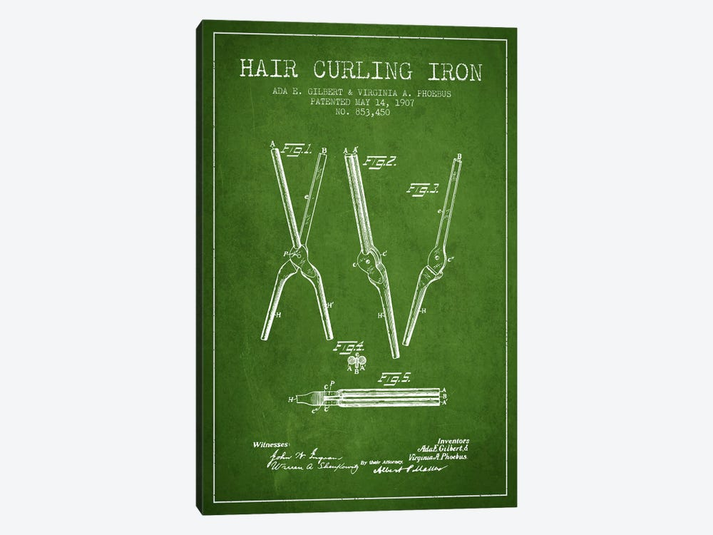 Hair Curling Iron Green Patent Blueprint by Aged Pixel 1-piece Canvas Print